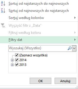 Filtrowanie dat w Excelu