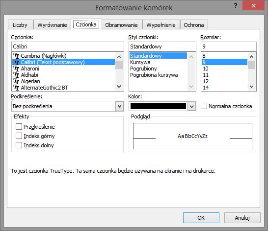 Formatowanie czcionki w Excelu